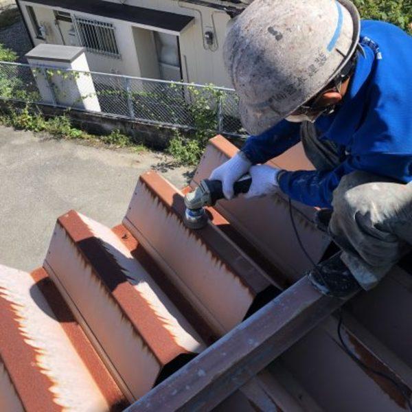 熊本県天草市・折板屋根サンダーケレン工事