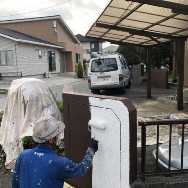 熊本市東区戸島・塀塗装工事完了!