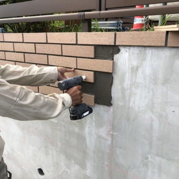 熊本市北区植木・住宅塀タイル貼り工事