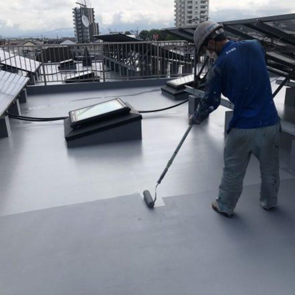 熊本市東区・マンション屋上防水保護塗装完了!