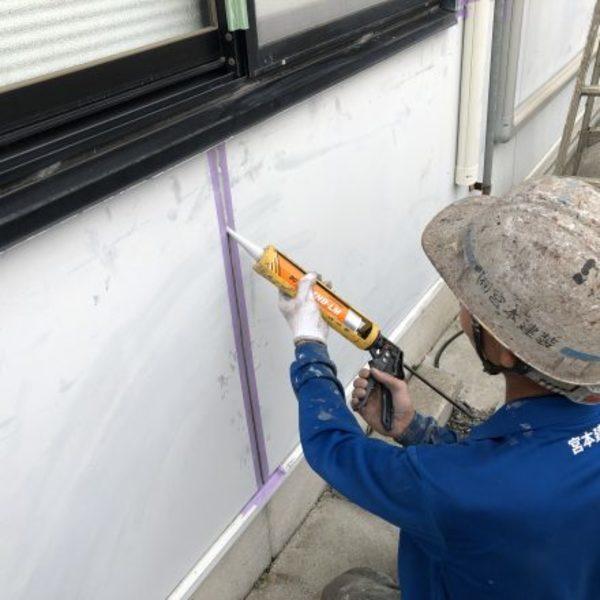 熊本市中央区・外壁1部シーリング打ち替え工事完了!